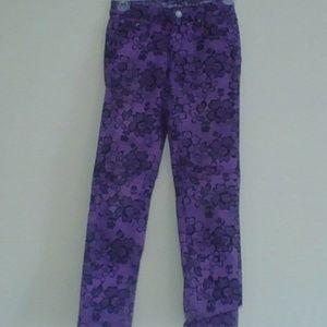 Justice Premium Jeans Black & Purple Floral Design